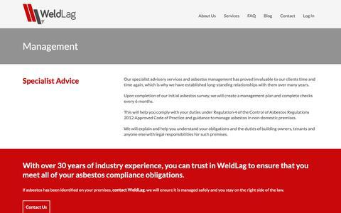 Screenshot of Team Page weldlag.co.uk - Asbestos Management - WeldLag - captured Oct. 20, 2018