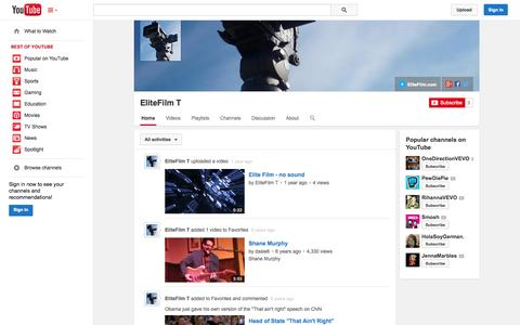 Screenshot of YouTube Page youtube.com - EliteFilm T  - YouTube - captured Oct. 22, 2014