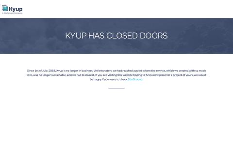 Screenshot of About Page kyup.com - Scalable Cloud Hosting on Linux containers - captured Aug. 19, 2018