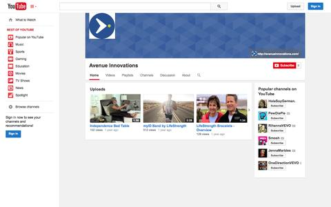 Screenshot of YouTube Page youtube.com - Avenue Innovations  - YouTube - captured Oct. 23, 2014