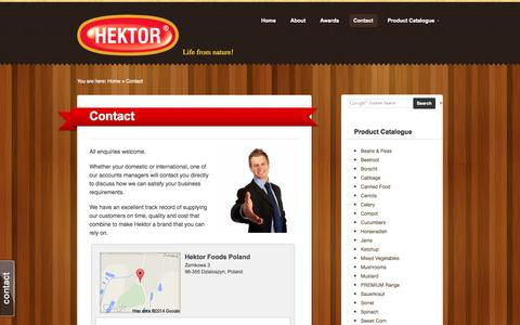 Screenshot of Contact Page hektorfoods.com - Hektor Foods  |  Contact - captured Oct. 2, 2014