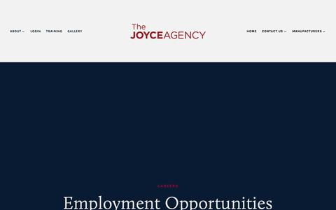 Screenshot of Jobs Page thejoyceagency.com - Careers — The Joyce Agency - captured Oct. 18, 2018
