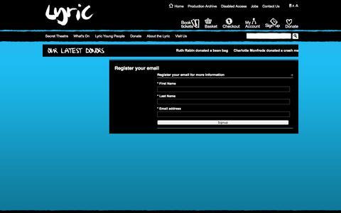 Screenshot of Signup Page lyric.co.uk - Register :: Lyric Hammersmith - captured Oct. 23, 2014