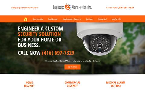 Screenshot of Home Page engineeredalarm.com - Home and Commercial Security Systems Toronto and Vaughan - captured Nov. 7, 2016