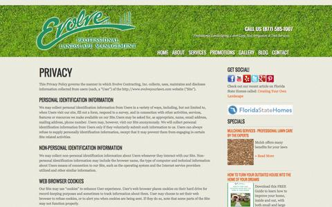 Screenshot of Privacy Page evolveyourlawn.com - Privacy | Evolve Professional Landscape Management - captured Jan. 31, 2016