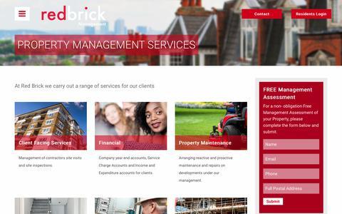 Screenshot of Services Page redbrickpm.co.uk - Property Management Services | Redbrick PM - captured Oct. 27, 2017