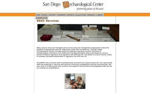 Screenshot of Services Page sandiegoarchaeology.org - Services - captured Oct. 3, 2014