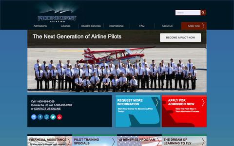 Screenshot of Home Page pea.com - Flight School, Airline Pilot Training in Florida, USA - Phoenix East Aviation - captured Sept. 24, 2014