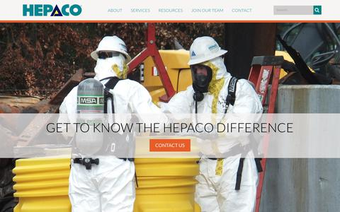Screenshot of Home Page hepaco.com - Home - captured July 12, 2019