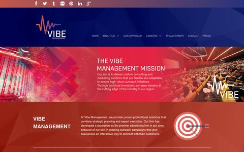 Screenshot of Home Page vibemanagementinc.com - Vibe Management - captured Oct. 7, 2014