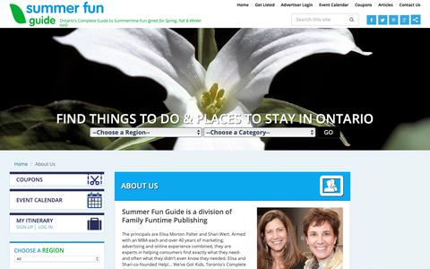 Screenshot of About Page summerfunguide.ca - Ontario Resorts, Events in Ontario, Things to Do - Summer Fun Guide - captured Oct. 15, 2018