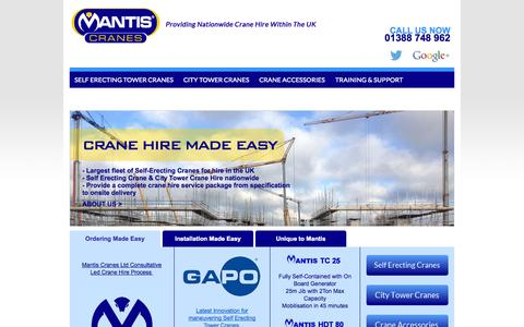 Screenshot of Home Page mantiscranes.co.uk - Mantis Cranes, UK - Mantis Cranes Ltd offer a diverse range of Self Erecting Tower Cranes and City Tower Cranes for hire throughout the UK - captured Oct. 4, 2014