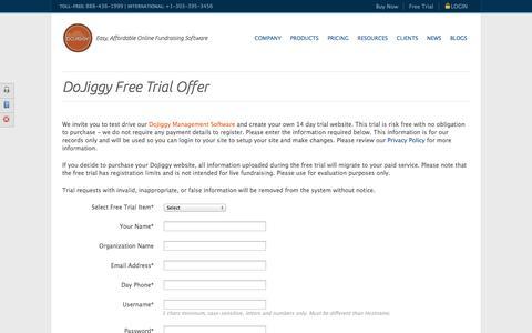 Screenshot of Trial Page dojiggy.com - 14 Day Free Trial Offer    DoJiggy - captured Nov. 3, 2014
