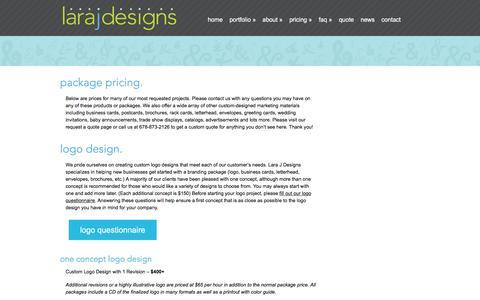Screenshot of Pricing Page larajdesigns.com - Pricing  for Logo, Print, Website Design in Cartersville, Ga | Lara J Designs - captured July 11, 2016