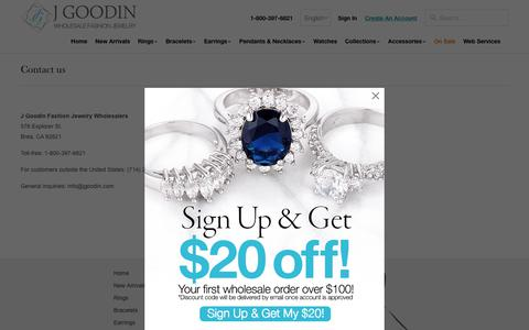 Screenshot of Contact Page jgoodin.com - Wholesale Fashion Jewelry Contact us - J GOODIN - captured Oct. 24, 2018