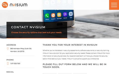 Screenshot of Contact Page nvisium.com - nVisium - Contact - captured Sept. 21, 2018
