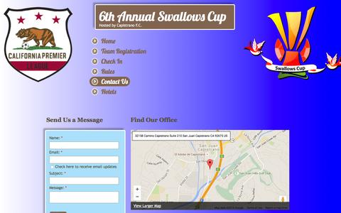 Screenshot of Contact Page swallowscup.com - Contact Us - captured April 7, 2016