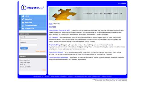 Screenshot of Services Page integrationinc.com - Custom Software Development, EDI Outsourcing, Third Party Billing, UCC128 Labels & Check Writing Services - captured Sept. 30, 2014