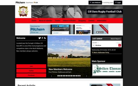 Screenshot of Home Page pitchero.com - Cill Dara Rugby Football Club - captured Oct. 10, 2015