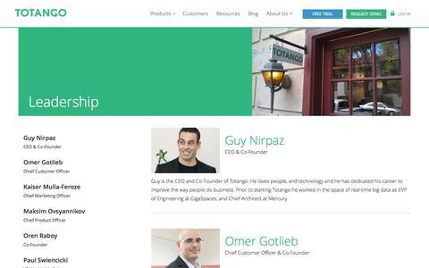 Screenshot of Team Page totango.com - Leadership » Totango | Totango - captured Sept. 17, 2014