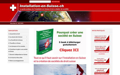 Screenshot of Home Page installation-en-suisse.ch - Installation en Suisse : tout ce que vous devez savoir | Accueil - captured Oct. 24, 2018
