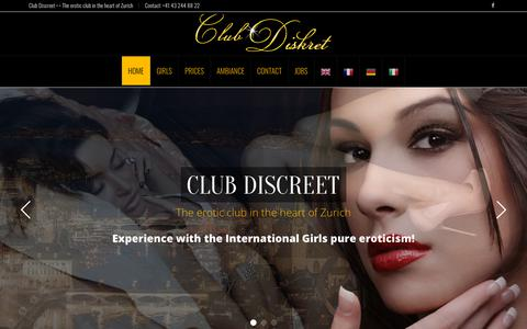 Screenshot of Home Page club-diskret.ch - Club Discreet - The erotic club in the heart of Zurich - captured Sept. 22, 2018
