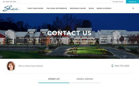 Screenshot of Contact Page sheahomes.com - Contact Us | Shea Homes - captured Jan. 28, 2019
