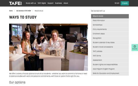 Ways to Study - Full/Part Time, Flexible, Online - TAFE NSW