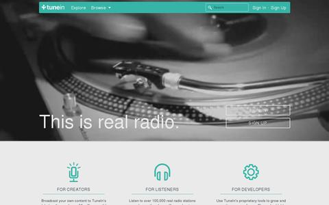 Screenshot of Home Page tunein.com - TuneIn: Listen to Online Radio, Music and Talk Stations - captured July 11, 2014