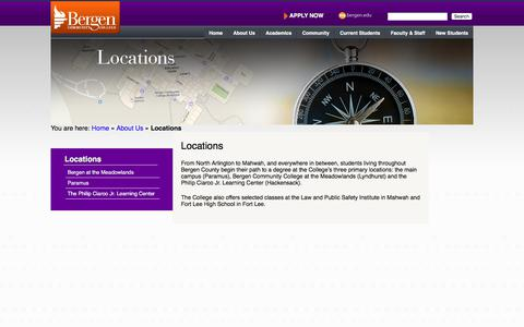 Screenshot of Locations Page bergen.edu - Locations   Bergen Community College - captured Sept. 22, 2018