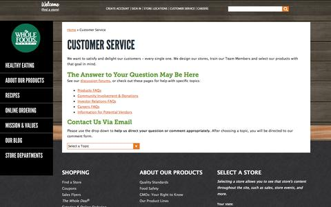 Screenshot of Contact Page Support Page wholefoodsmarket.com - Customer Service | Whole Foods Market - captured Oct. 25, 2014