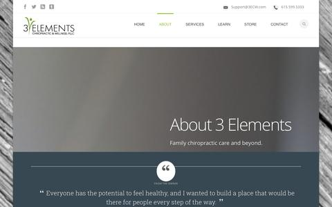 Screenshot of About Page 3elementschiropractic.com - Our Family Chiropractic Center in Franklin TN | 3 Elements - captured Oct. 27, 2014