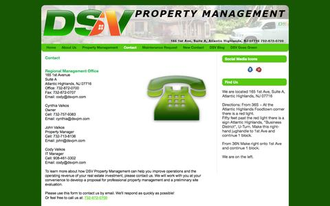 Screenshot of Contact Page dsvpm.com - Property Management Tri State Area | Ocean County | Long Beach Island | Monmouth County | DSV Property Management Ltd - captured Oct. 5, 2014