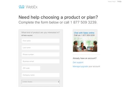 Screenshot of Landing Page webex.com - Cisco WebEx Contact Sales. - captured Oct. 12, 2017