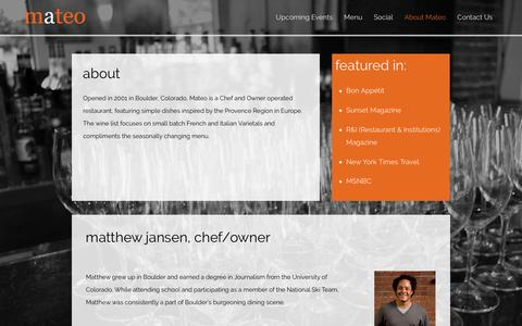 Screenshot of About Page mateorestaurant.com - About Mateo - Mateo Restaurant - captured Feb. 12, 2016