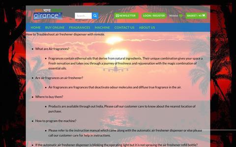 Screenshot of FAQ Page airance.com - Airance - Automatic Room Freshener Machine | Automatic Air Freshener Dispenser - captured Dec. 9, 2018