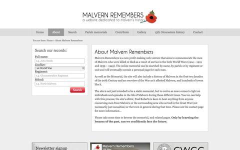 Screenshot of About Page malvernremembers.org.uk - Malvern Remembers, Malvern History & War Records - captured June 29, 2018