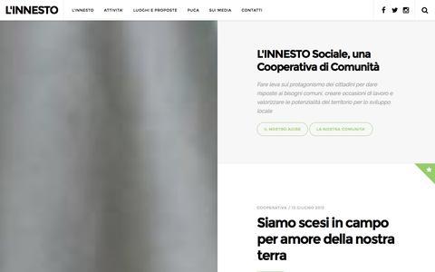 Screenshot of Home Page innesto.org - L'INNESTO | una cooperativa di comunità - captured Jan. 31, 2016