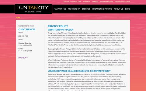 Screenshot of Privacy Page suntancity.com - Privacy Policy - captured Oct. 14, 2015