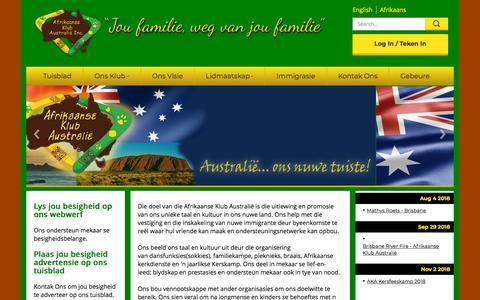 Screenshot of Home Page afrikaans.org.au - Afrikaans Klub Australië - captured June 28, 2018