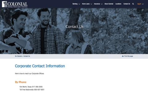 Screenshot of Contact Page gocolonial.com - Contact Us for Great Rates and Customer Service - captured June 16, 2016