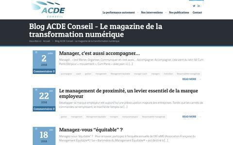 Screenshot of Blog acde-conseil.com - Blog ACDE Conseil - Le magazine de la transformation numérique - captured July 28, 2018