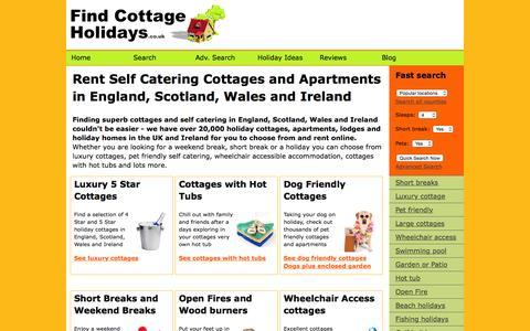 Screenshot of Home Page findcottageholidays.co.uk - Rent Holiday Cottages England Scotland Wales Ireland CHEAP BUDGET LUXURY SELF CATERING Short Breaks Weekend Break Holidays Cottage Apartment Lodge Holiday Homes UK Britain. Find Cottage Holidays - captured Oct. 9, 2015