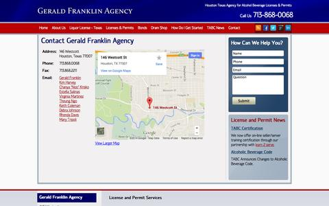 Screenshot of Contact Page geraldfranklinagency.com - Contact - Gerald Franklin Agency - captured Sept. 26, 2014