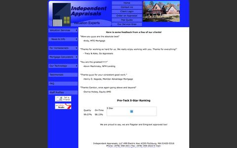 Screenshot of Testimonials Page independentappraisals.org - Appraisal Client Testimonials, MA - Independent Appraisals, LLC - Testimonials - captured Nov. 19, 2016