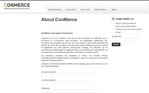 Screenshot of About Page conmerce.nl - ConMerce, Concepts in Commerce - captured Aug. 13, 2017