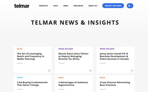 Screenshot of Blog Press Page telmar.com - Blog - Telmar Media Planning Insights - captured Aug. 12, 2019