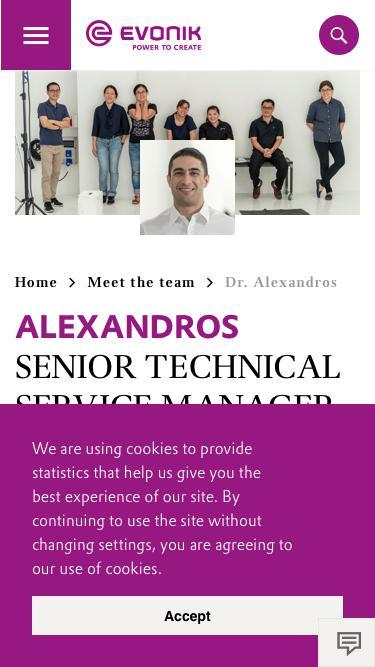 Screenshot of Team Page  evonik.com - Dr. Alexandros                                                                - Evonik Careers