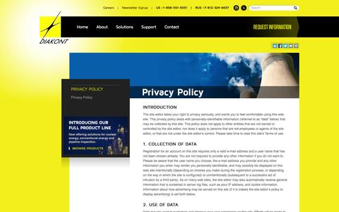 Screenshot of Privacy Page diakont.com - Cameras for Nuclear Power Plants, Radiation Tolerant Equipment | Diakont - captured Sept. 30, 2014