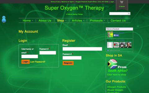 Screenshot of Login Page oxygentherapysa.com - My Account - Super Oxygen™ TherapySuper Oxygen™ Therapy - captured Nov. 5, 2014